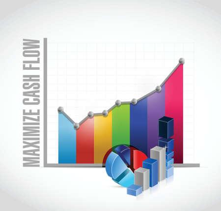 maximizar el flujo de efectivo gráfico de negocio ilustración de la muestra de diseño sobre fondo blanco