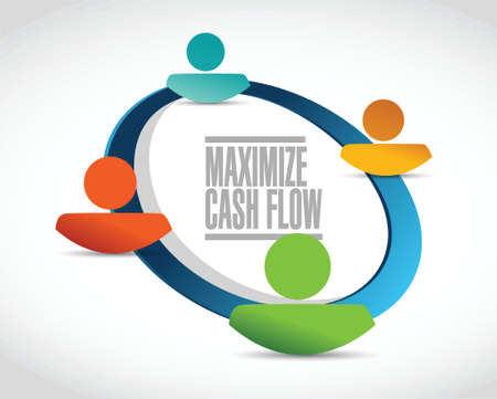 cash cycle: maximize cash flow people network sign illustration design over white background