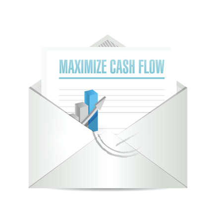 e money: maximize cash flow email sign illustration design over white background