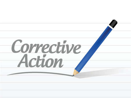 corrective: corrective action message sign illustration design over white
