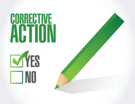 corrective: corrective action check mark illustration design over white