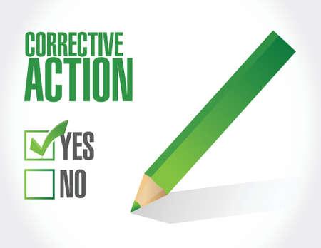 corrective action check mark illustration design over white