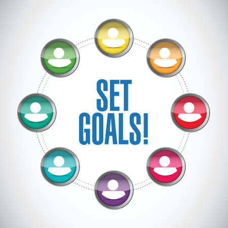 set goals people diagram sign concept illustration design over white