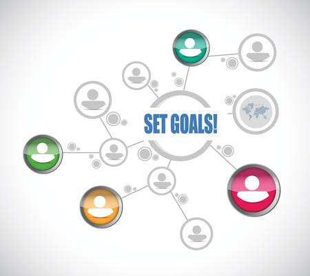 set goals team diagram sign concept illustration design over white