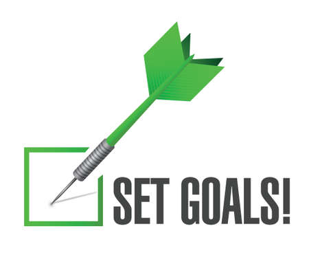 set goals check dart sign concept illustration design over white