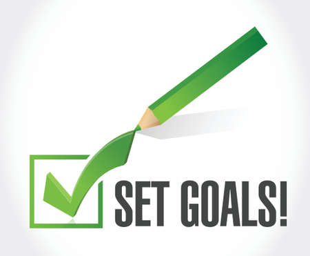 accomplishing: set goals check mark sign concept illustration design over white Illustration