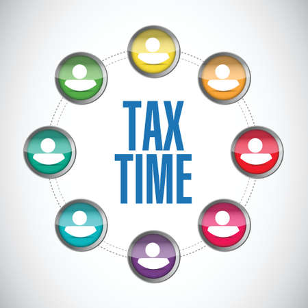 business sign: tax time business sign concept illustration design over white Illustration