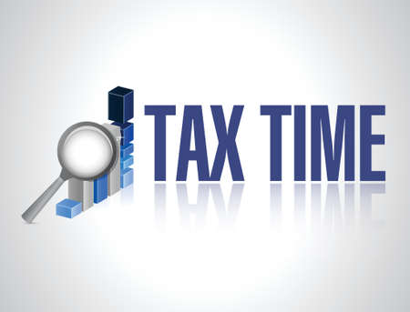 time over: tax time business magnify graph sign illustration design over white