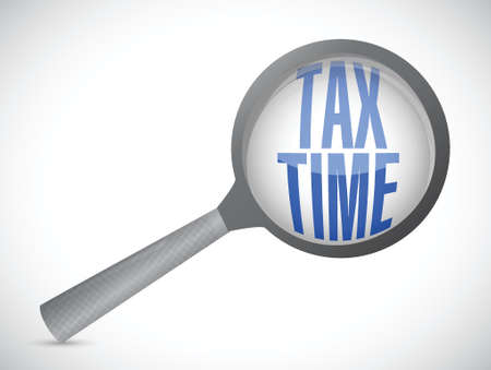 magnify glass: tax time magnify glass sign illustration design over white