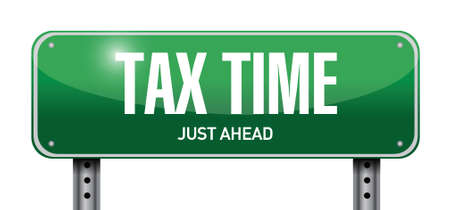 refund: tax time road sign illustration design over white