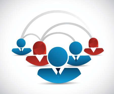 peer to peer: conexión a la red de trabajo en equipo ilustración diagrama de diseño sobre blanco