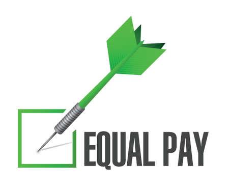 pay check: equal pay check dart sign illustration design over white Illustration