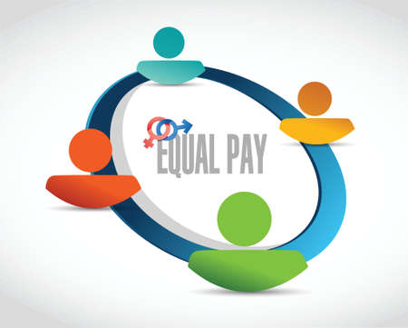 equal opportunity: equal pay people diagram sign illustration design over white