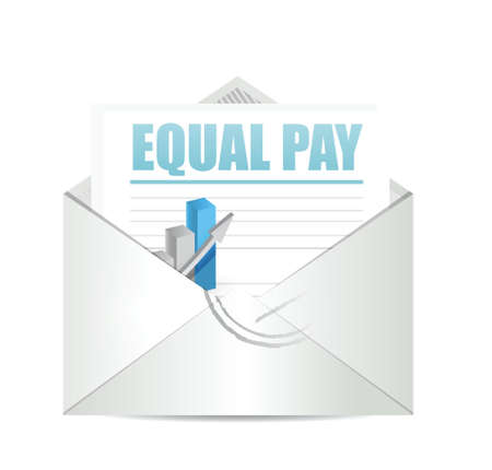 equal opportunity: equal pay mail sign illustration design over white