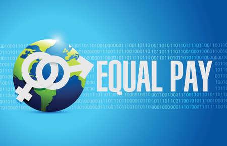 equal pay globe sign illustration design over binary background