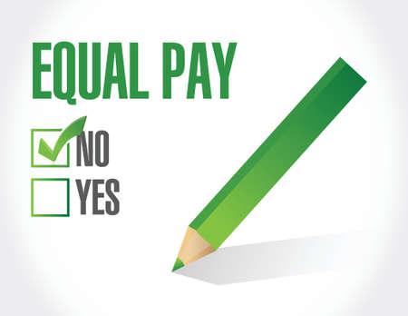 no equal pay check mark sign illustration design over white Illustration