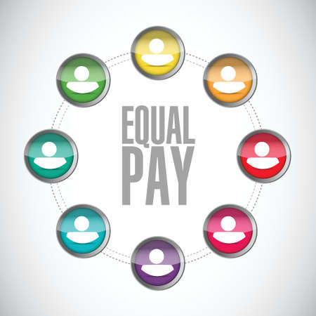 equal opportunity: equal pay people network sign illustration design over white