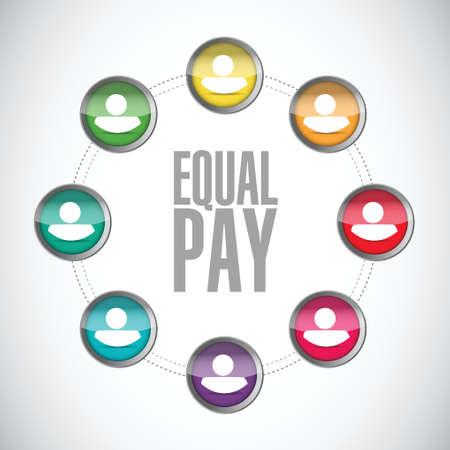 equal pay people network sign illustration design over white