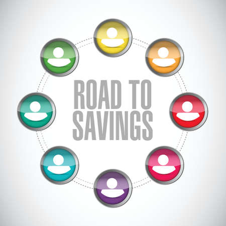 road to savings people diagram sign illustration design over white Illustration