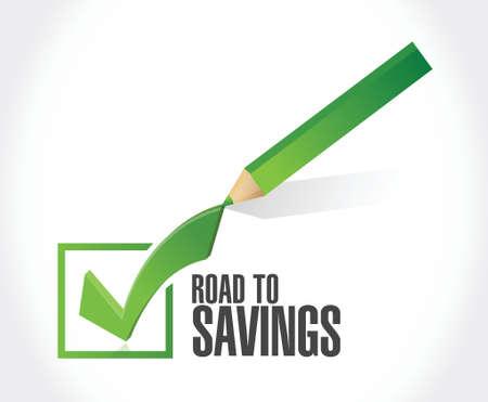 traffic violation: road to savings check mark sign illustration design over white