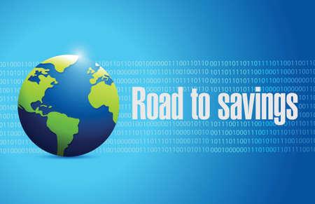 traffic violation: road to savings globe sign illustration design over white Illustration