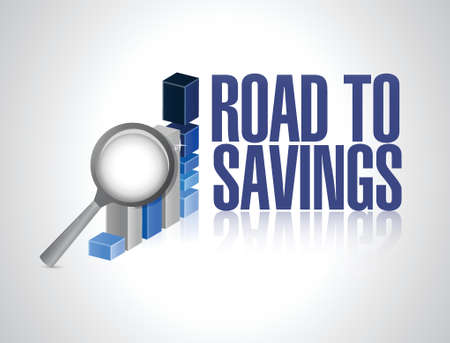 traffic violation: road to savings business graph sign illustration design over white
