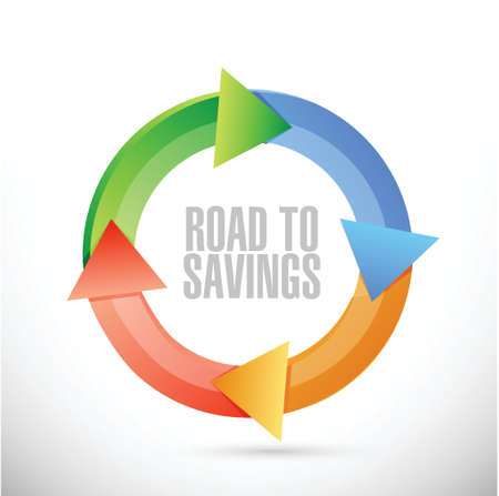 traffic violation: road to savings cycle sign illustration design over white Illustration