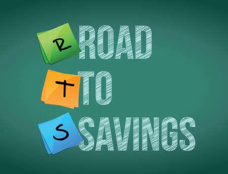 traffic violation: road to savings board post sign illustration design Illustration
