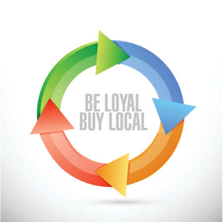 be loyal buy local cycle sign illustration design over a white background