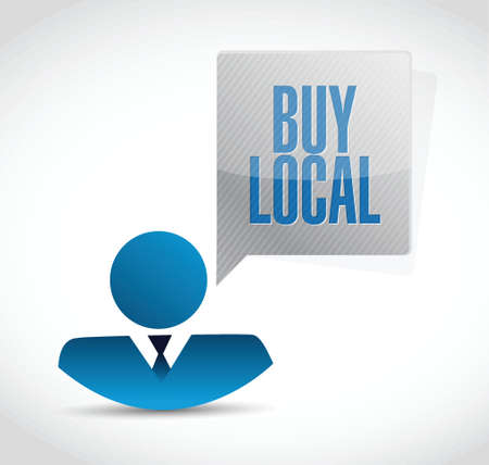shop local: buy local people sign illustration design over a white background