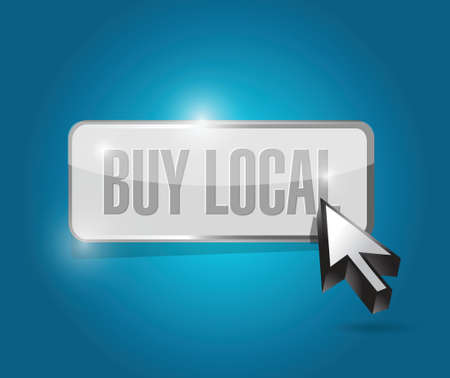 buy local button sign illustration design over a blue background