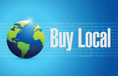 regional product: buy local globe sign illustration design over a blue background
