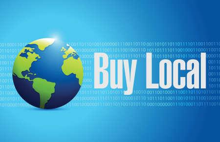 fresh produce: buy local globe sign illustration design over a blue background