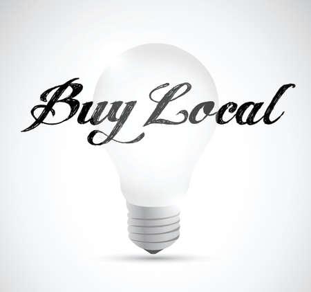 buy local idea bulb sign illustration design over a white background