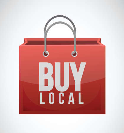 local business: buy local shopping bag illustration design over a white background Illustration