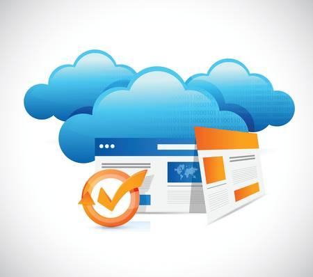 web technology: Browser tecnologia web e il cloud computing design illustrazione su bianco Vettoriali