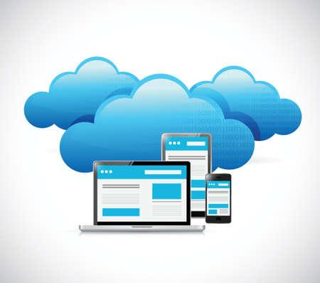 cloud hosting: computer design network cloud computing illustration design over white Illustration