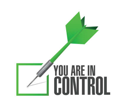 usted está en control de verificación de dardos signo concepto de diseño gráfico ilustración