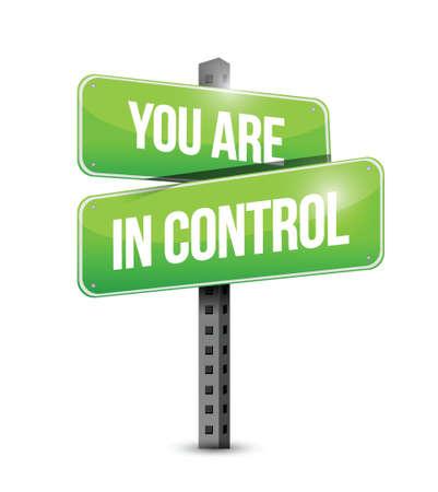 usted está en control letrero de la calle Ilustración del concepto de diseño gráfico