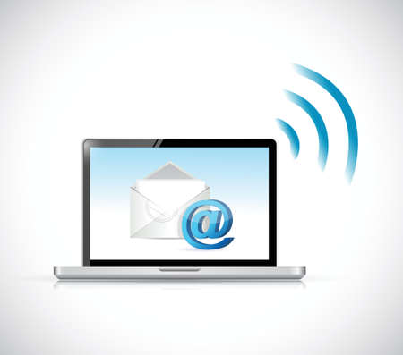 communication concept: computer email wifi communication concept. illustration design Illustration