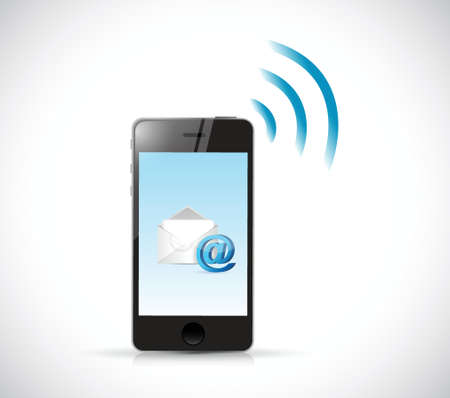 icon 3d: smartphone email wifi communication concept. illustration design Illustration