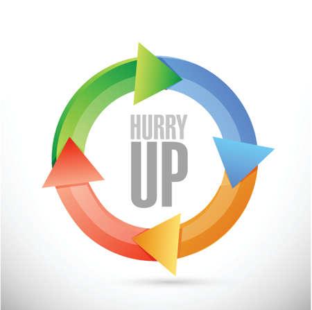 hurry up: sbrigati ciclo segno design illustrazione su bianco