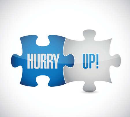 hurry up: fretta di puzzle pezzo di design illustrazione segno su bianco Vettoriali