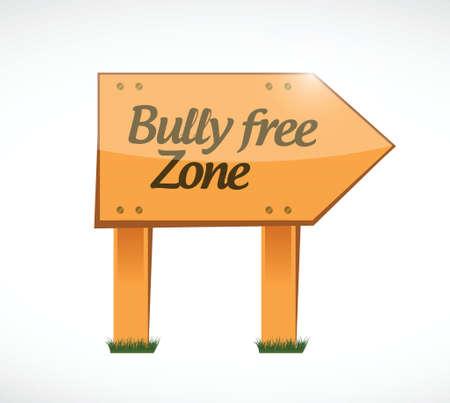 bully: mat�n dise�o zona franca muestra de madera concepto de ilustraci�n m�s de blanco