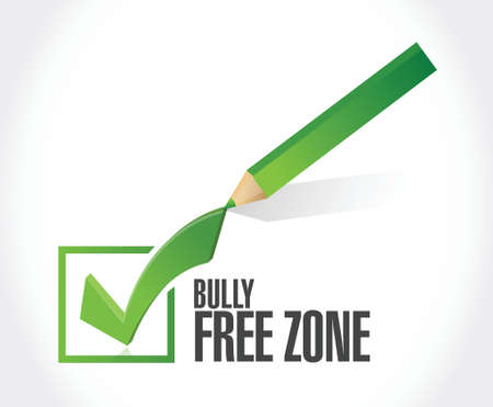 bully free zone check mark sign illustration design over white