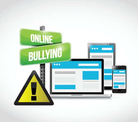 intimidating: online bullying browser warning concept illustration design Illustration