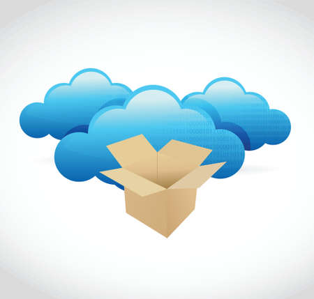looking through an object: cloud computing storage box concept illustration design over white