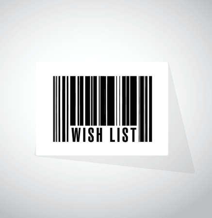 wishlist: wish list barcode sign concept illustration design over white