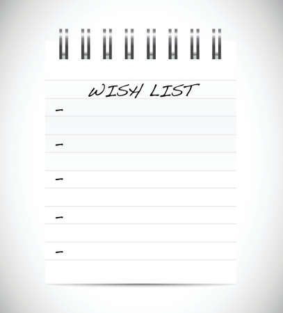 wishlist: wish list presentation sign concept illustration design over white