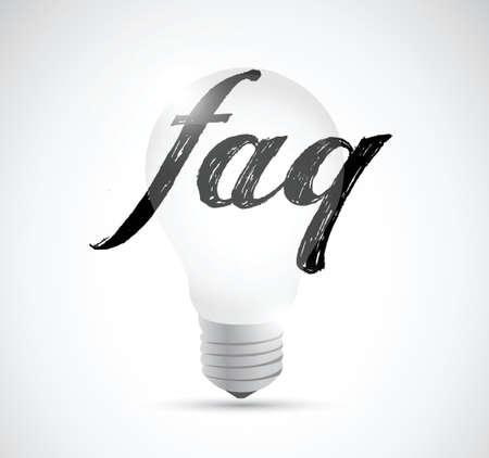 faq light bulb sign illustration design over white Vector